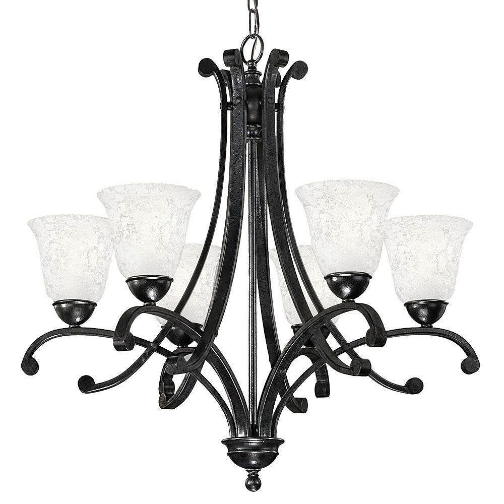 Eglo ATHENS Chandelier 6L, Black Forged Finish, Etched White Glass