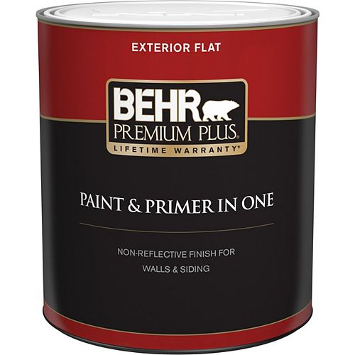 Behr Premium Plus Exterior Paint & Primer in One, Flat - Medium Base, 946 mL