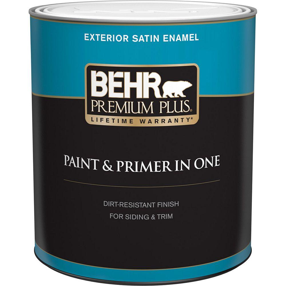 Behr Premium Plus Peinture & apprêt en un - Extérieur émail satiné - Base moyenne, 946 ML