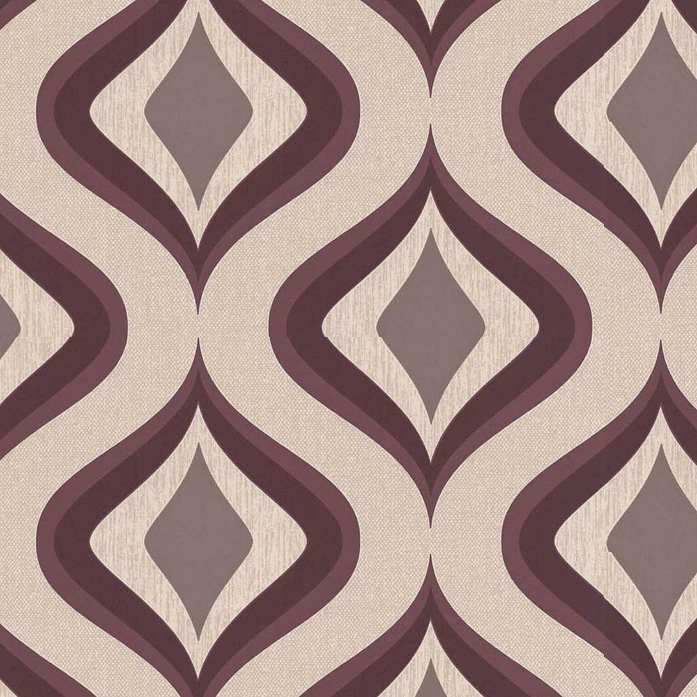 Graham & Brown Trippy Purple/Beige Wallpaper