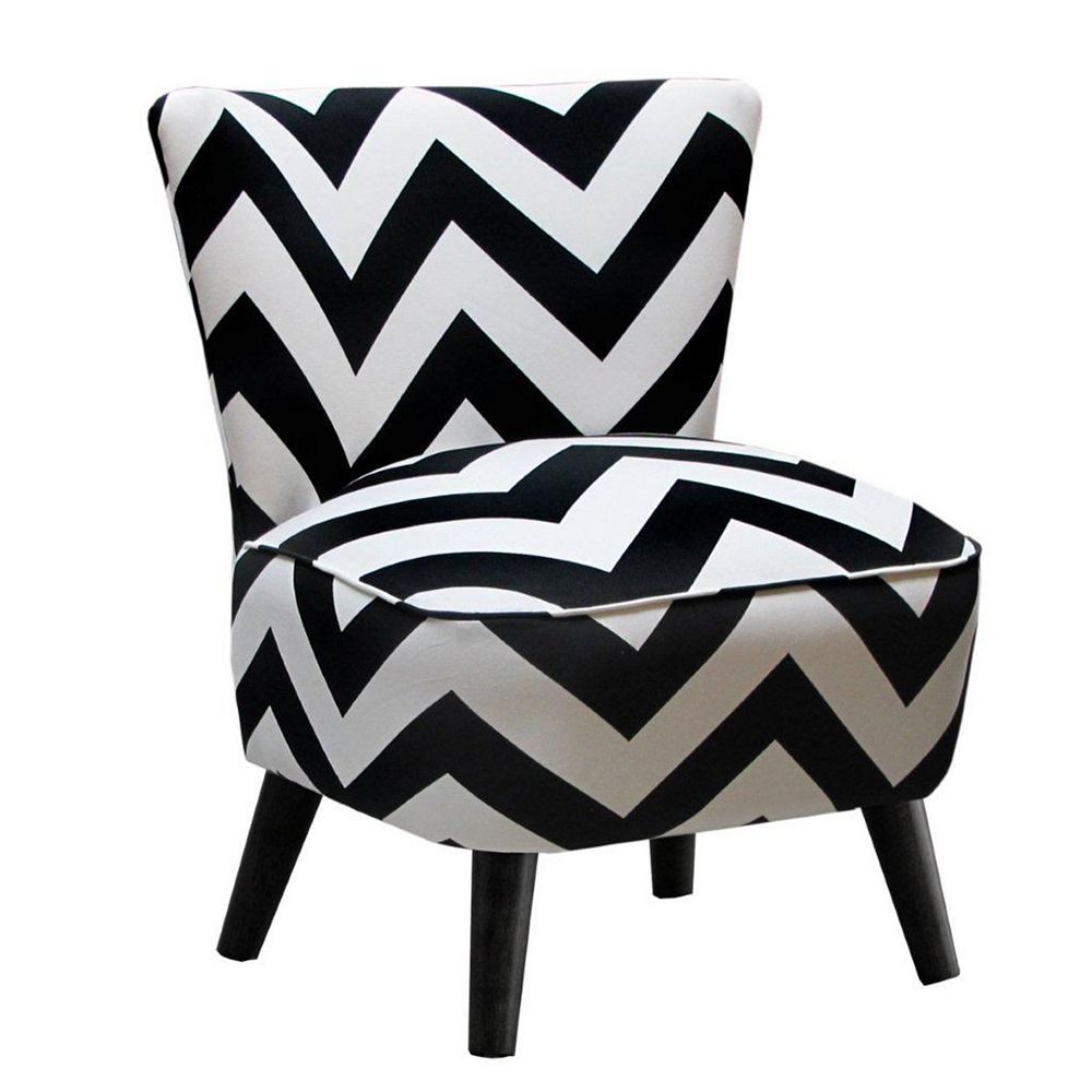Skyline Furniture Traditional Occasional Cotton Accent Chair in White with Chevron Pattern