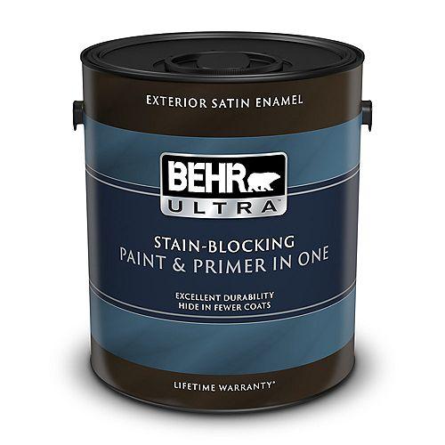 ULTRA Peinture et apprêt en un extérieur émail satiné - Blanc ultra pur, 3,79 L