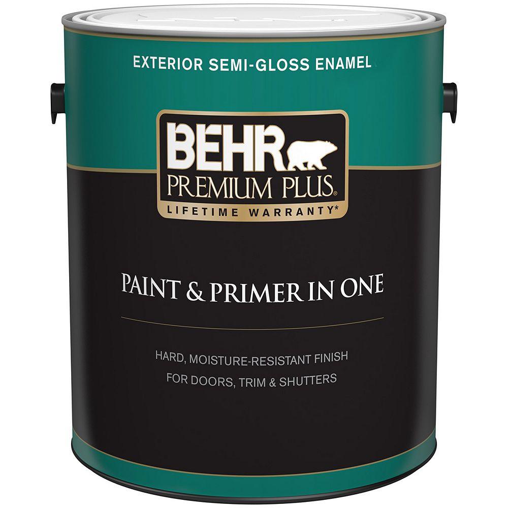 Behr Premium Plus Peinture & apprêt en un - Extérieur émail semi-brillant - Base moyenne, 3,7 L