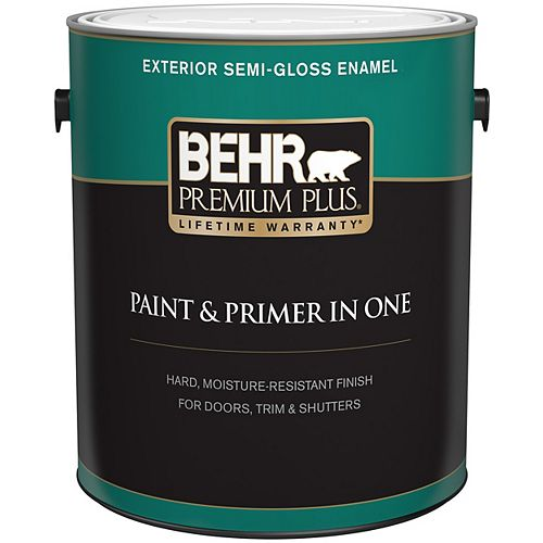 Behr Premium Plus Exterior Paint & Primer in One, Semi-Gloss Enamel - Medium Base, 3.7 L