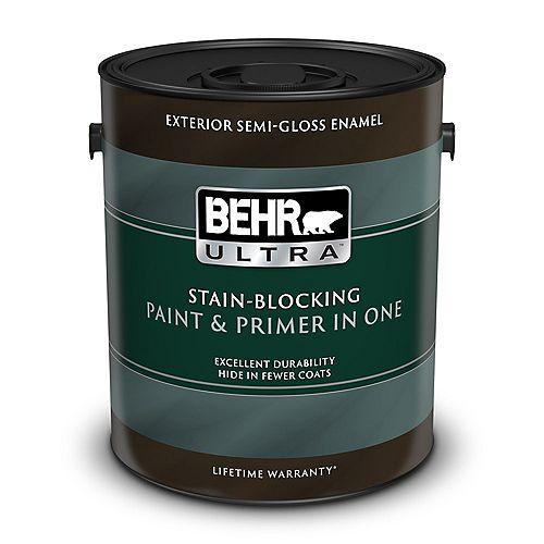ULTRA Peinture et apprêt en un extérieur émail semi-brillant - Blanc ultra pur, 3,79 L