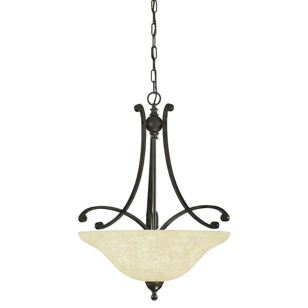 Eglo ATHENS Suspension 3L, Oiled Rubbed Bronze Finish, Etched Cream Glass