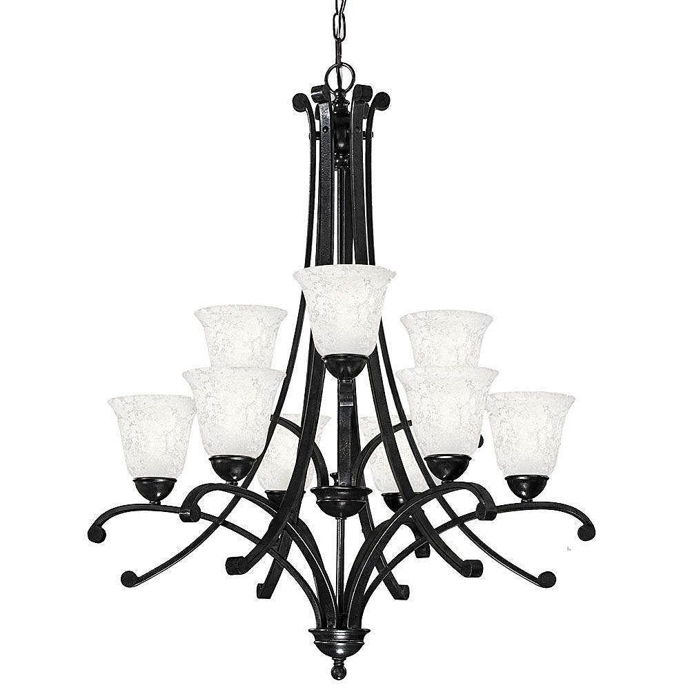 Eglo ATHENS Chandelier  9L, Black Forged Finish,  Etched White Glass
