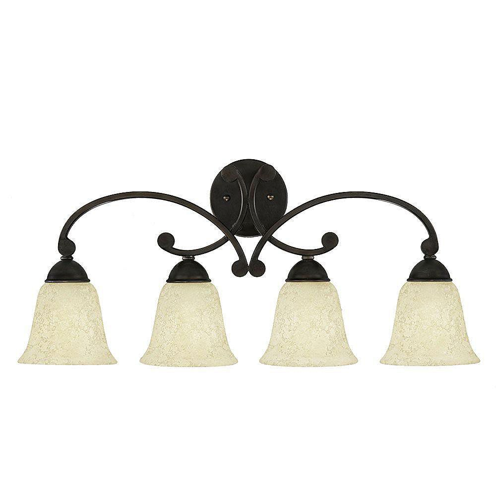 Eglo ATHENS Wall Light 4L, Oil Rubbed Bronze Finish,Etched Cream Glass