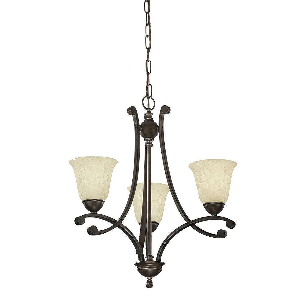 Eglo ATHENS Chandelier 3L, Oiled Rubbed Bronze Finish, Etched Cream Glass