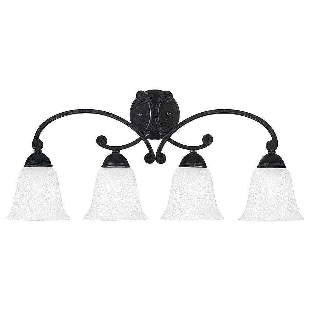 Eglo ATHENS Wall Light 4L, Black Forged Finish, Etched White Glass