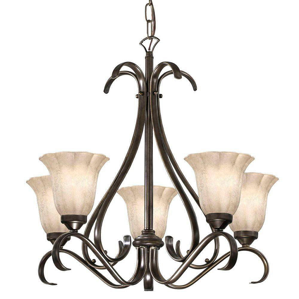 Eglo CARMEL Chandelier 5L, Oil Rubbed Bronze Finish, Scalloped Etched Glass
