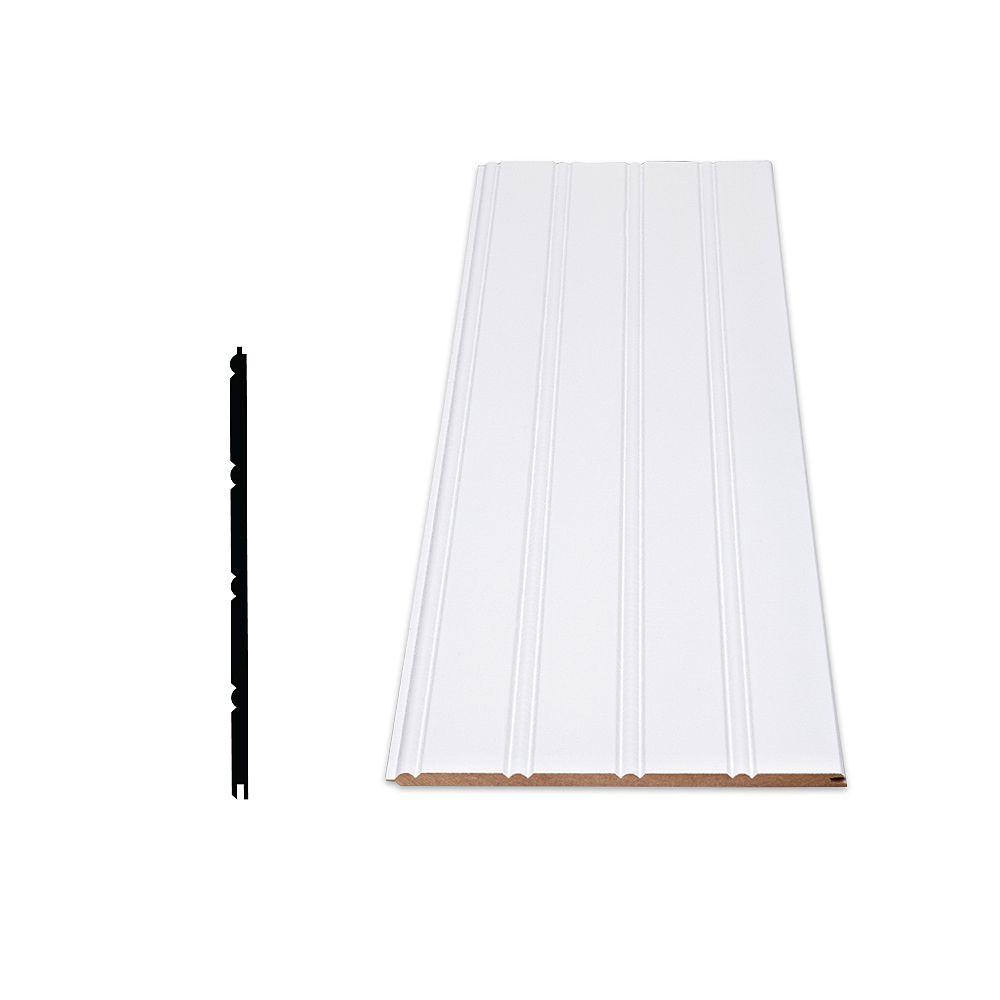 Alexandria Moulding Primed Fiberboard Wainscot Kit - 1/4 In. X 7 In. X 96 In. (3-Pack)