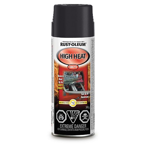 Automotive High Heat Paint In Flat Black, 340 G