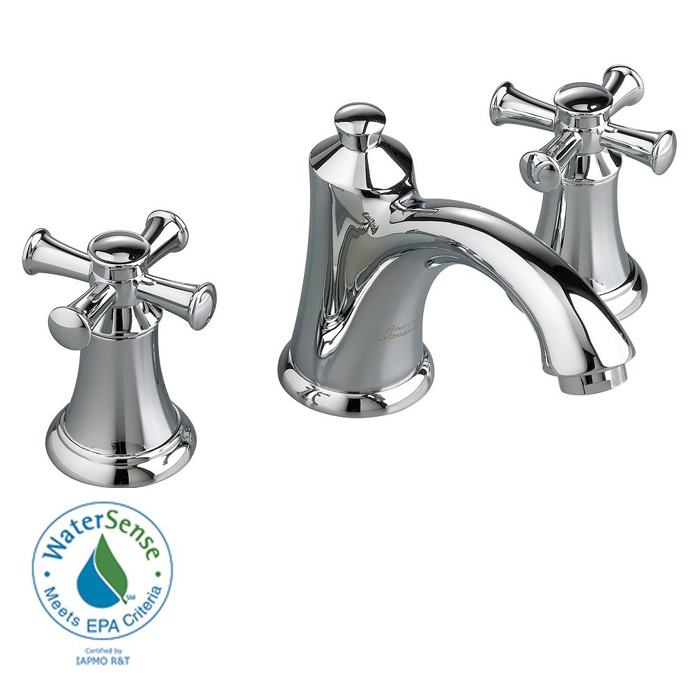 American Standard Portsmouth 8-inch 2-Handle Faucet with Speed Connect Drain and Cross Handles in Polished Chrome