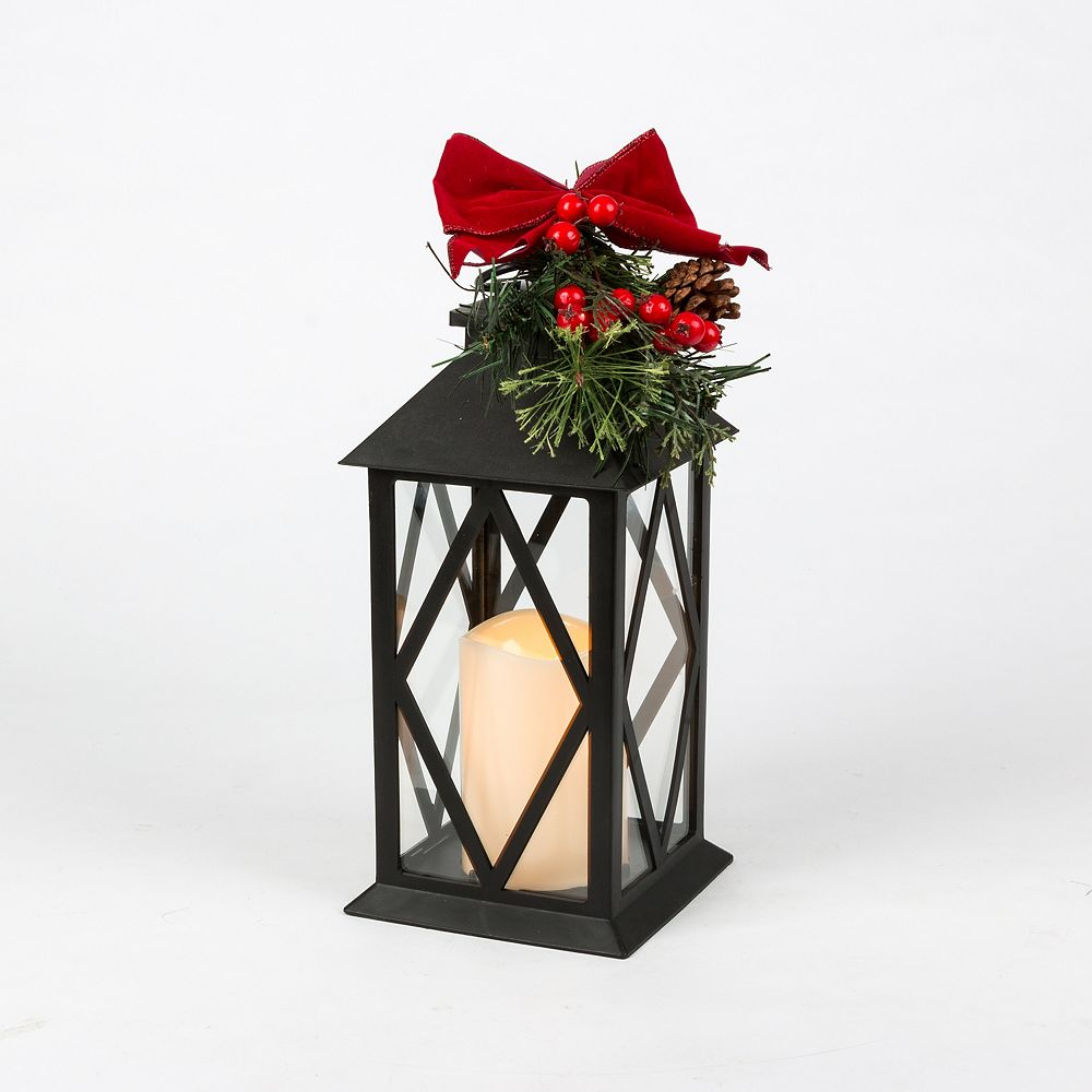 Home Accents 11 Inch Black Plastic Led Candle Lantern With Red Bow The Home Depot Canada