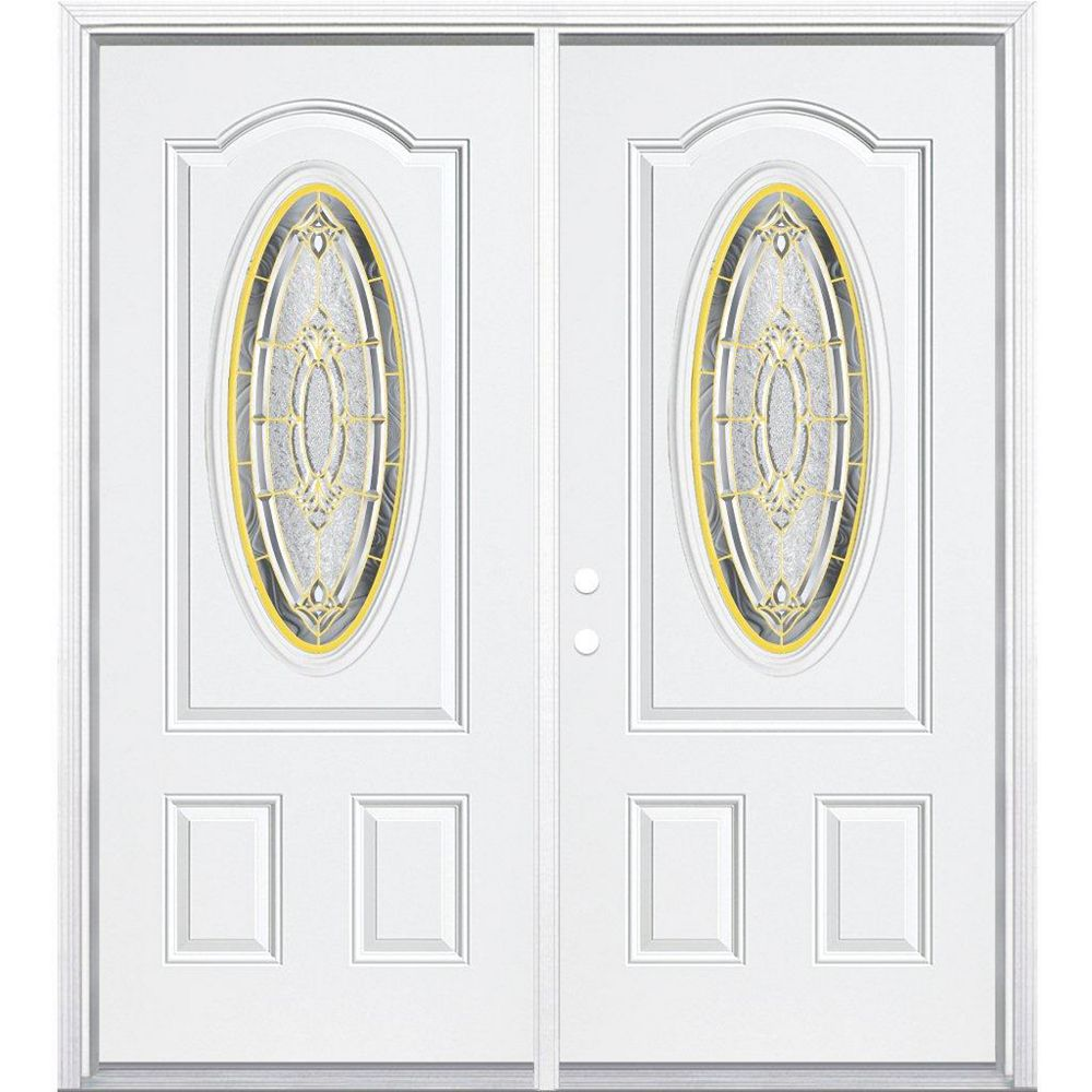 Masonite 64-inch x 80-inch x 6 9/16-inch Brass 3/4 Oval Lite Right Hand Entry Door with Brickmould