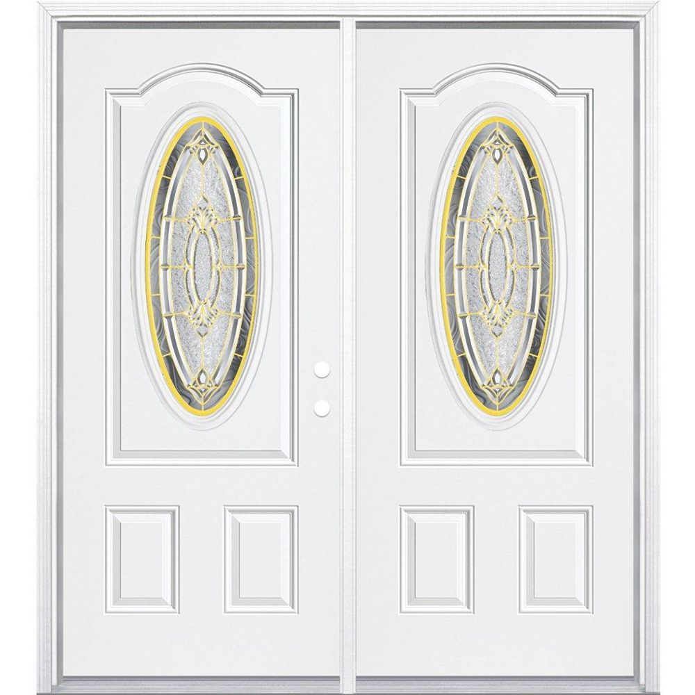 Masonite 72-inch x 80-inch x 6 9/16-inch Brass 3/4 Oval Lite Left Hand Entry Door with Brickmould