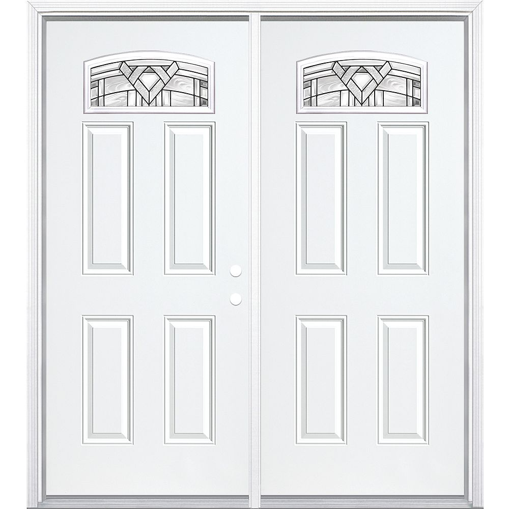 Masonite 64-inch x 80-inch x 4 9/16-inch Antique Black Camber Fan Lite Left Hand Entry Door with Brickmould - ENERGY STAR®