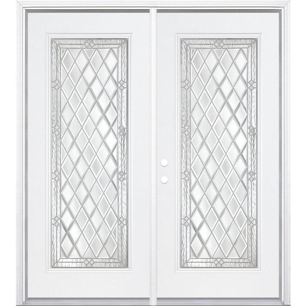 Masonite 64-inch x 80-inch x 4 9/16-inch Nickel Full Lite Right Hand Entry Door with Brickmould