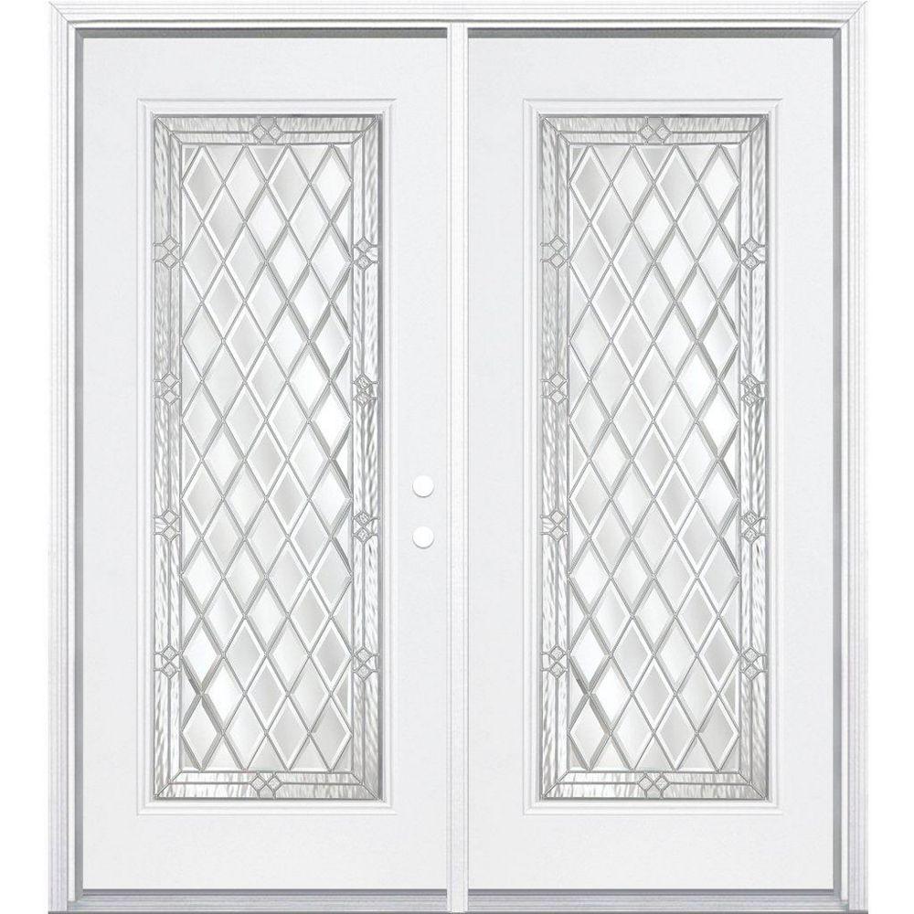 Masonite 68-inch x 80-inch x 6 9/16-inch Nickel Full Lite Left Hand Entry Door with Brickmould
