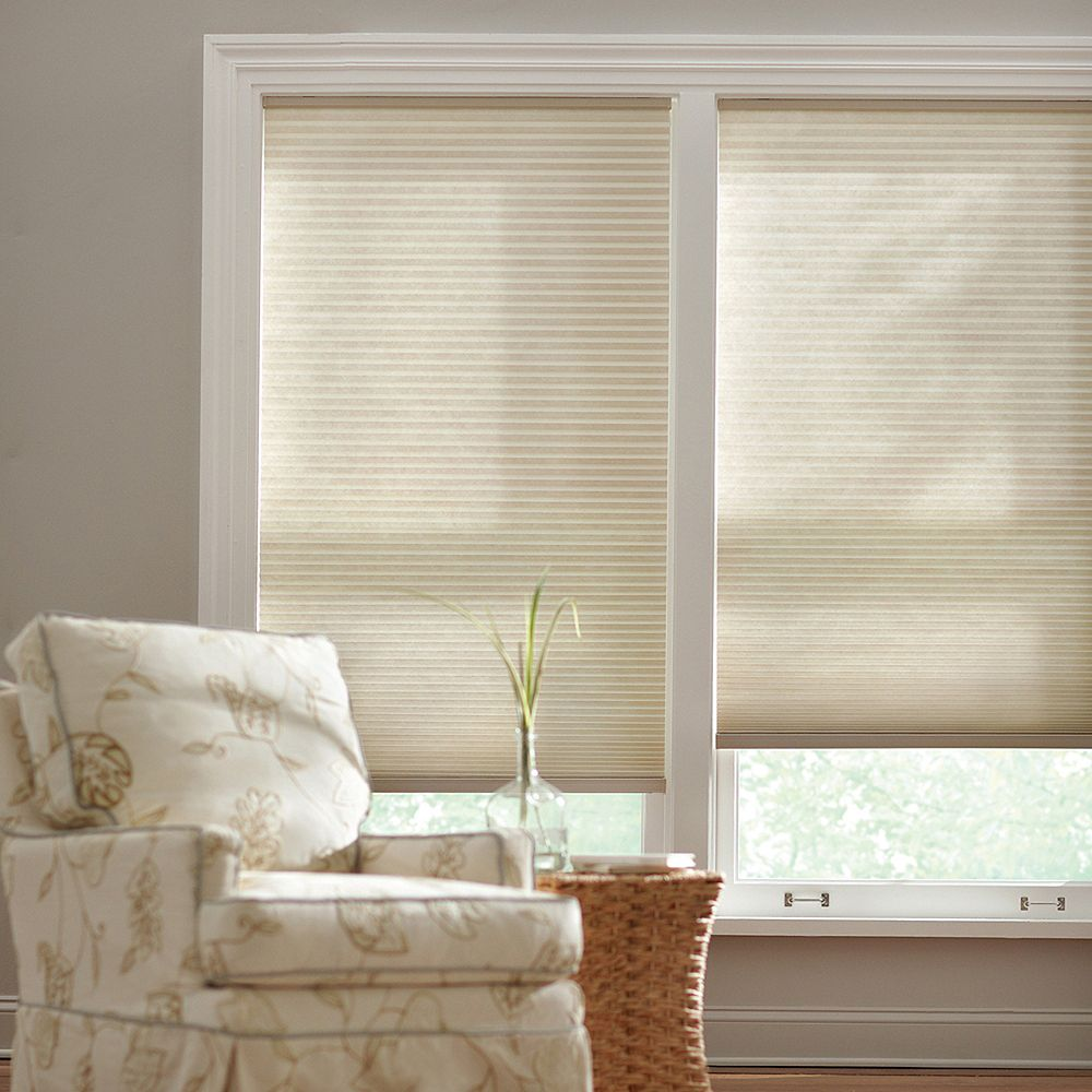 Home Decorators Collection 23-inch W x 72-inch L, Light Filtering Cordless Cellular Shade in Parchment Tan