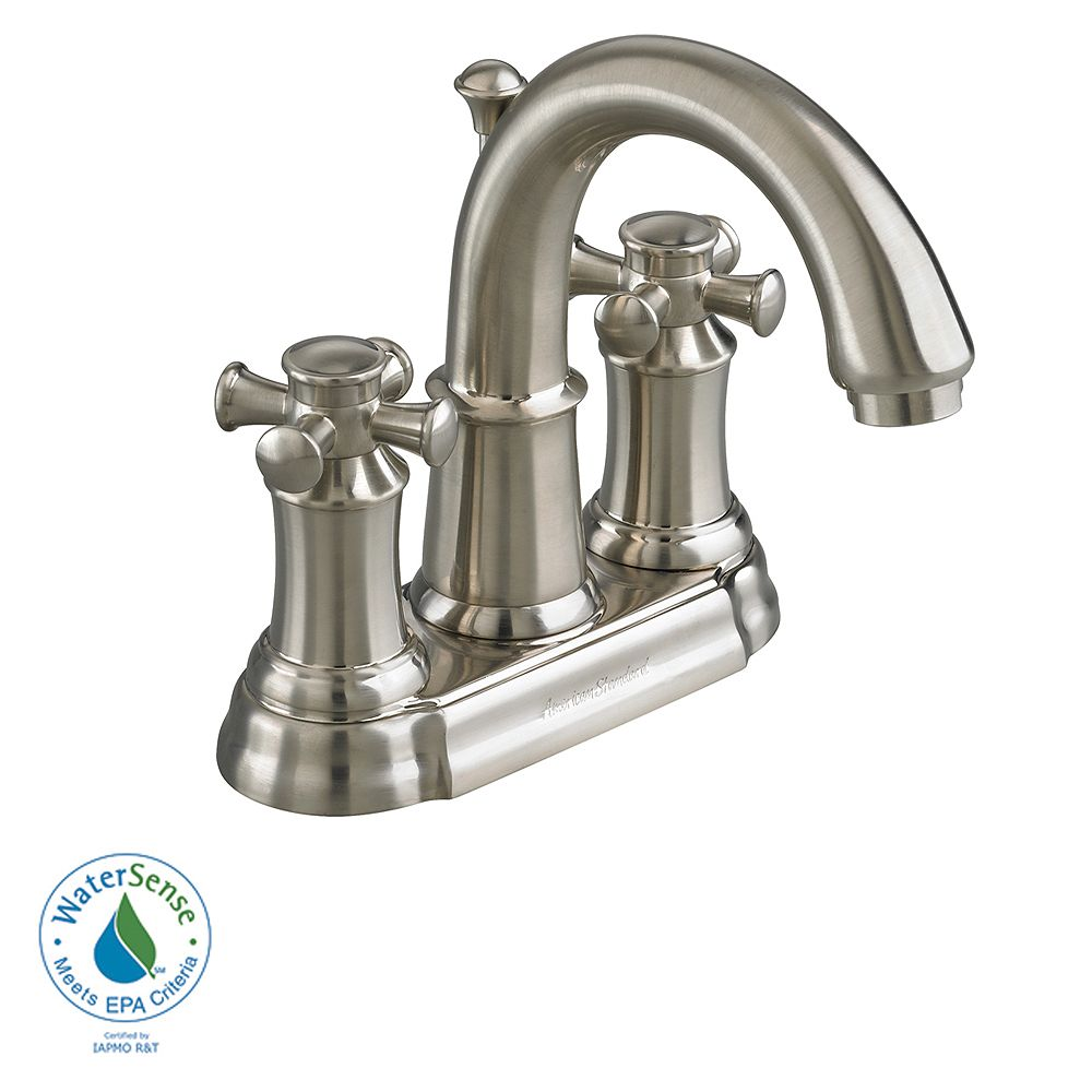 American Standard Portsmouth 4-inch 2-Handle High-Arc Bathroom Faucet with Speed Connect Drain in Satin Nickel Finish