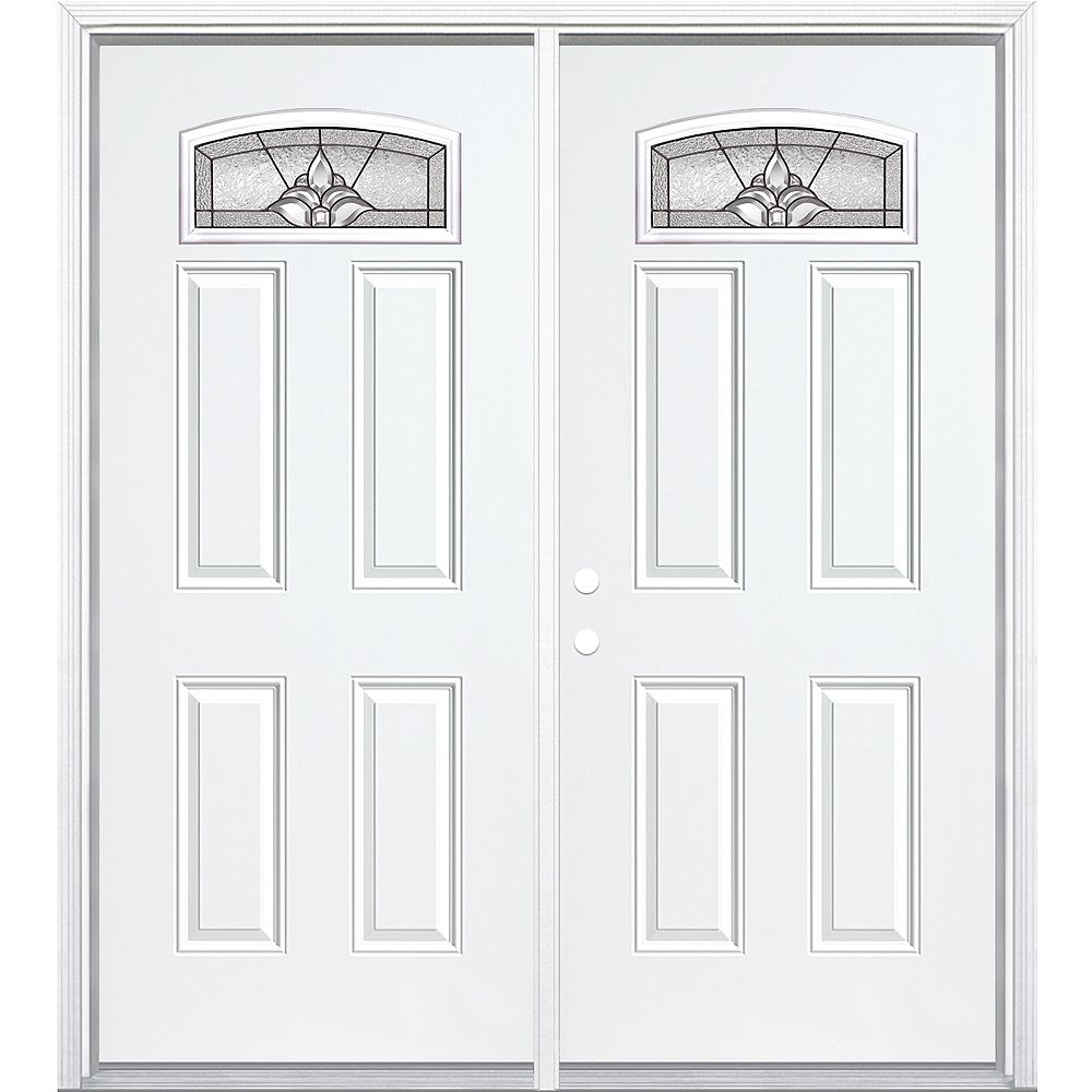 Masonite 68-inch x 80-inch x 4 9/16-inch Antique Black Camber Fan Lite Right Hand Entry Door with Brickmould - ENERGY STAR®