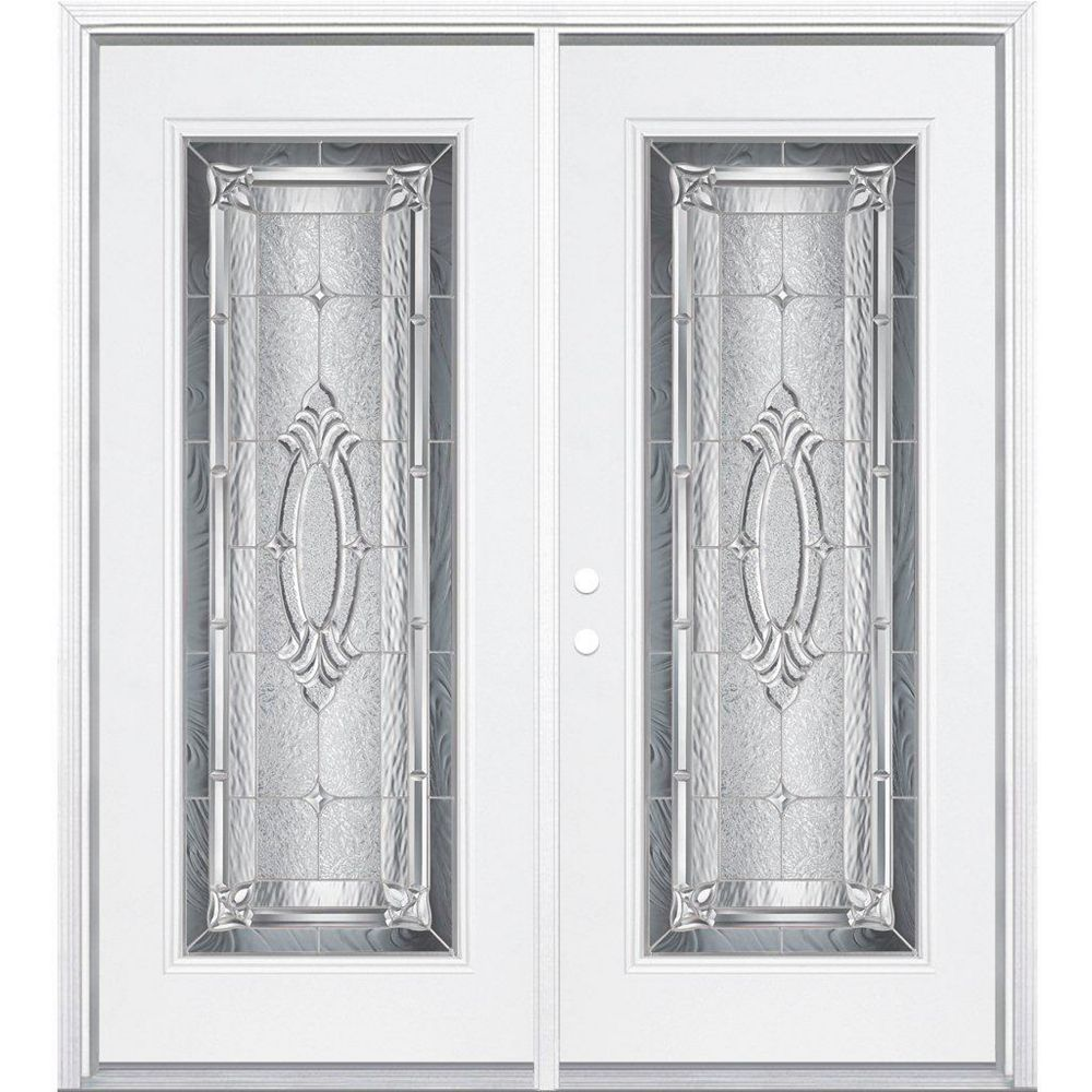 Masonite 72-inch x 80-inch x 6 9/16-inch Nickel Full Lite Right Hand Entry Door with Brickmould