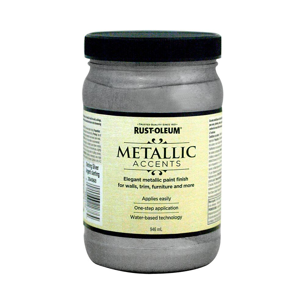 Rust-Oleum Metallic Accents Water Based Metallic Finish in Sterling Silver, 946 mL