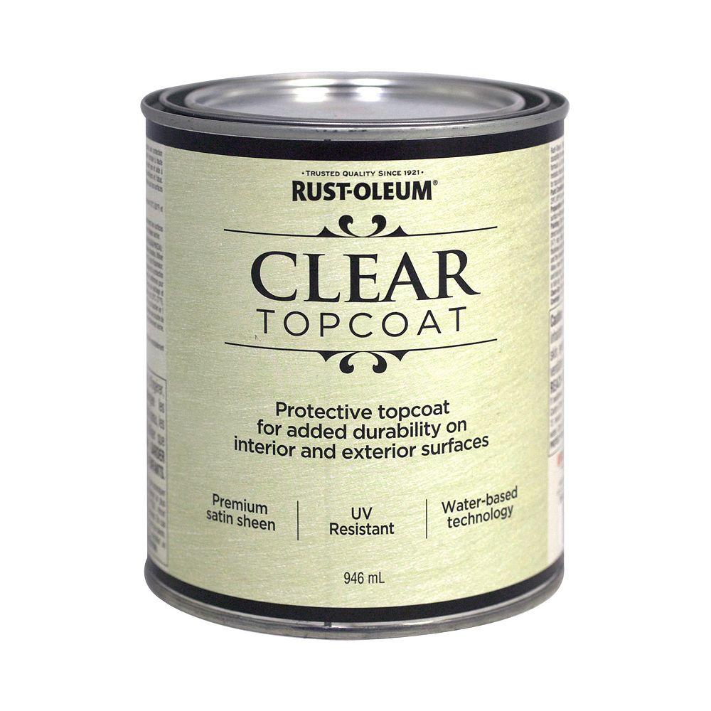 Rust-Oleum Metallic Accents Water Based Top Coat in Satin Clear, 946 mL