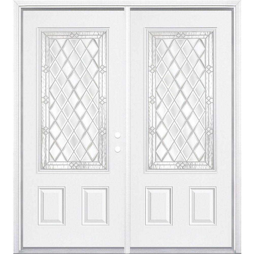 Masonite 72-inch x 80-inch x 6 9/16-inch Nickel 3/4-Lite Left Hand Entry Door with Brickmould