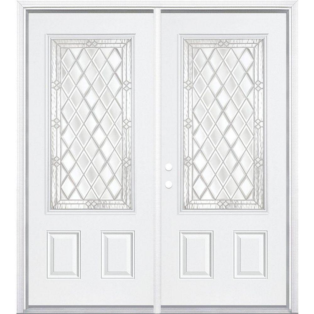 Masonite 68-inch x 80-inch x 6 9/16-inch Nickel 3/4-Lite Right Hand Entry Door with Brickmould