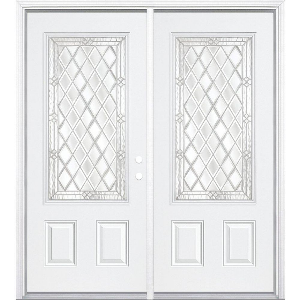 Masonite 68-inch x 80-inch x 6 9/16-inch Nickel 3/4-Lite Left Hand Entry Door with Brickmould