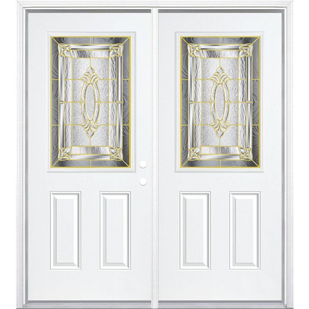 Masonite 68-inch x 80-inch x 4 9/16-inch Brass 1/2-Lite Left Hand Entry Door with Brickmould