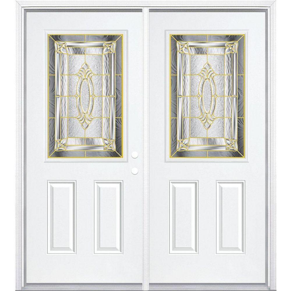 Masonite 68-inch x 80-inch x 6 9/16-inch Brass 1/2-Lite Left Hand Entry Door with Brickmould