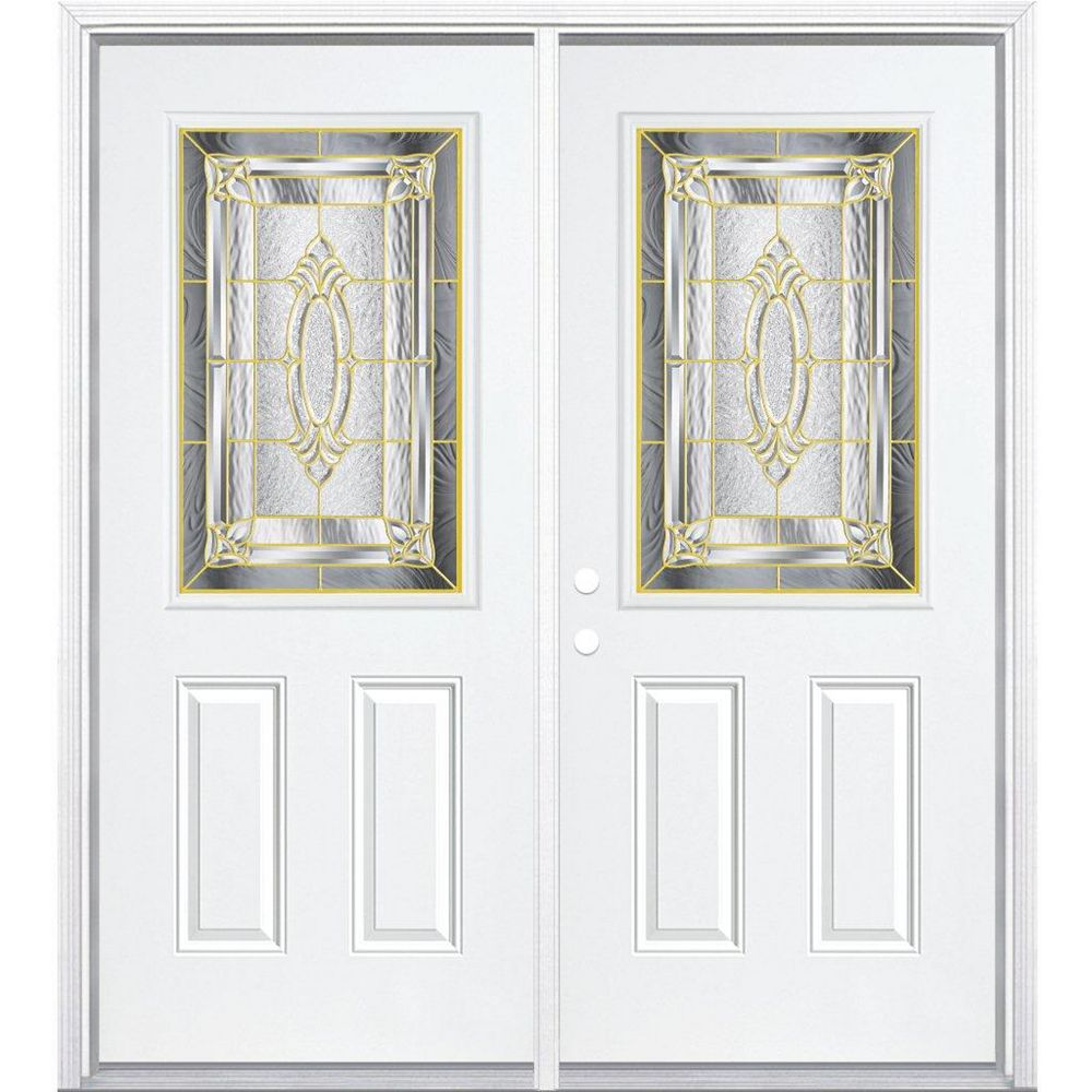 Masonite 64-inch x 80-inch x 6 9/16-inch Brass 1/2-Lite Right Hand Entry Door with Brickmould