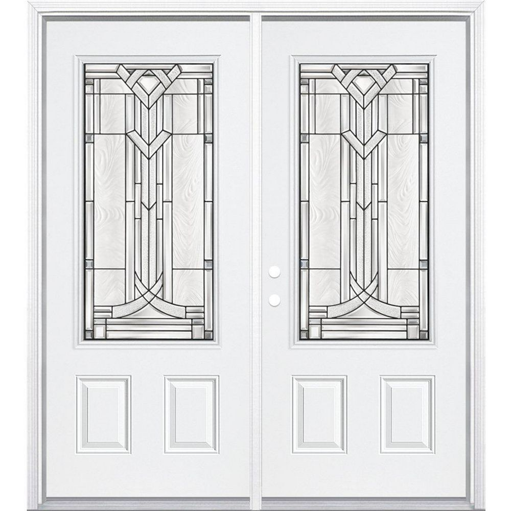 Masonite 72-inch x 80-inch x 4 9/16-inch Antique Black 3/4-Lite Right Hand Entry Door with Brickmould
