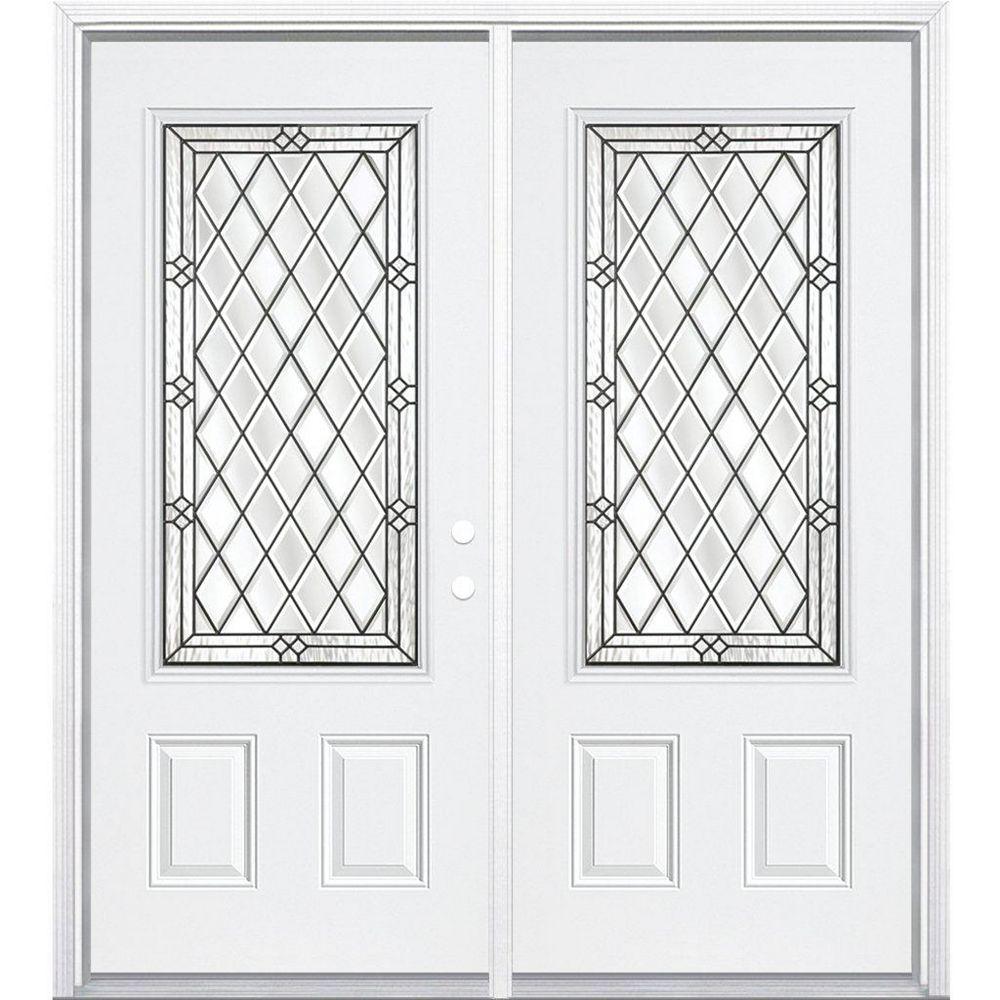Masonite 68-inch x 80-inch x 4 9/16-inch Antique Black 3/4-Lite Left Hand Entry Door with Brickmould