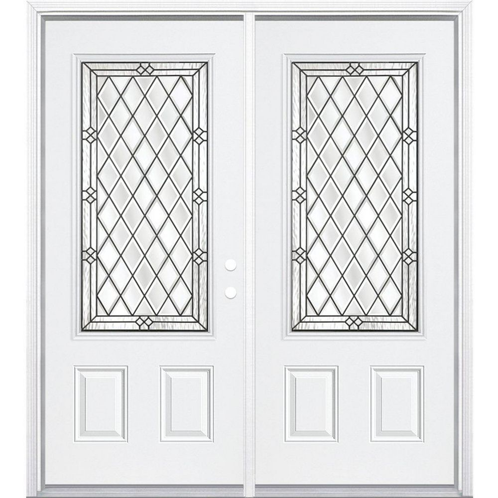 Masonite 72-inch x 80-inch x 4 9/16-inch Antique Black 3/4-Lite Left Hand Entry Door with Brickmould