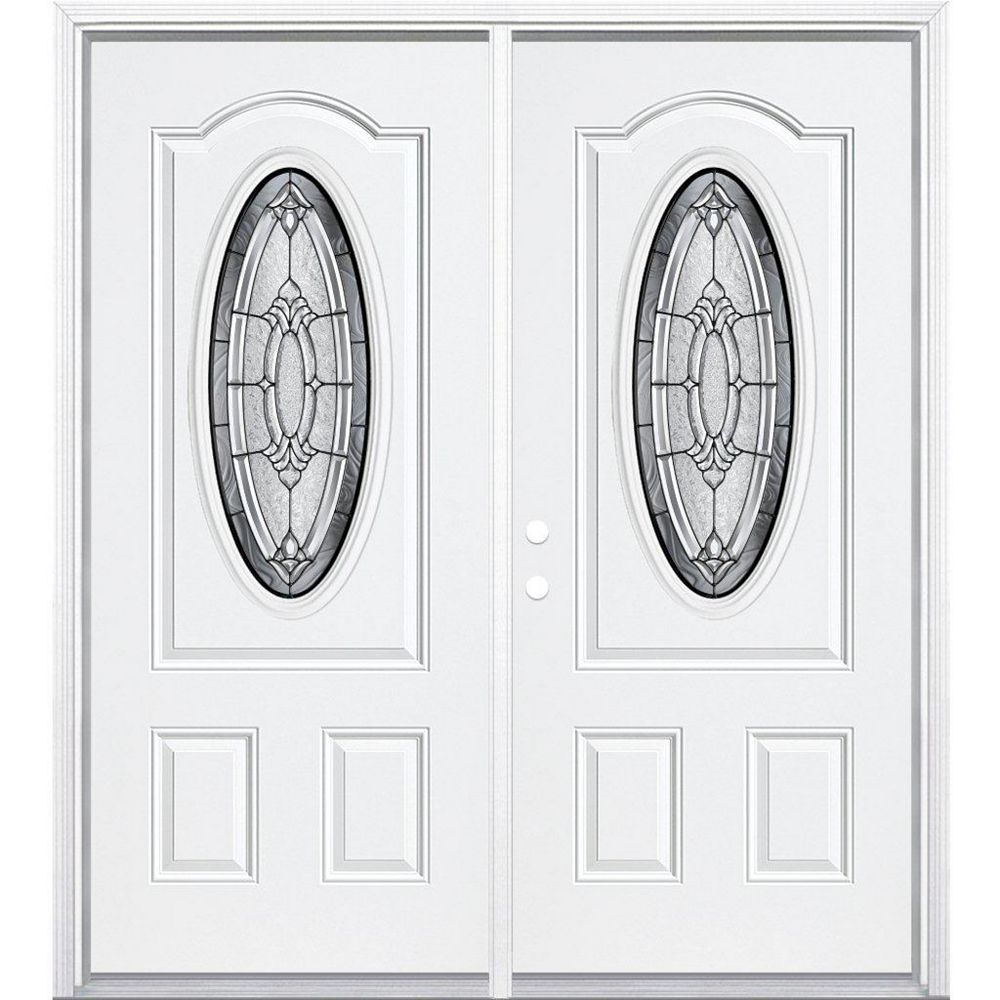 Masonite 68-inch x 80-inch x 6 9/16-inch Antique Black 3/4 Oval Lite Right Hand Entry Door with Brickmould
