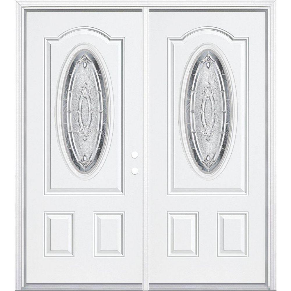 Masonite 68-inch x 80-inch x 4 9/16-inch Nickel 3/4 Oval Lite Left Hand Entry Door with Brickmould