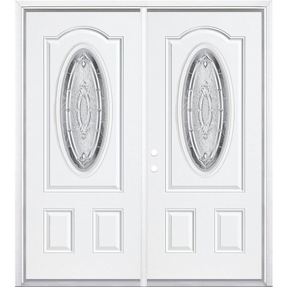 Masonite 68-inch x 80-inch x 4 9/16-inch Nickel 3/4 Oval Lite Right Hand Entry Door with Brickmould