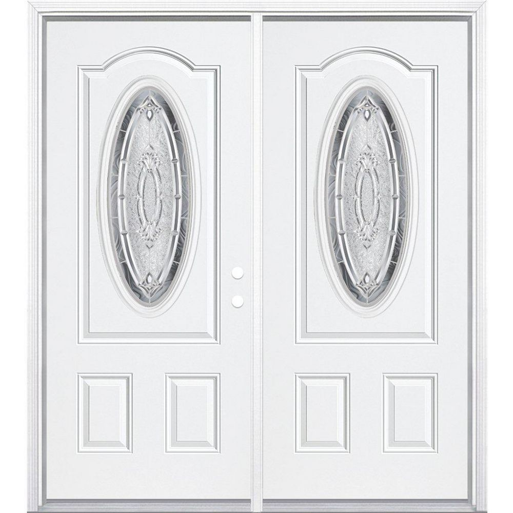 Masonite 72-inch x 80-inch x 4 9/16-inch Nickel 3/4 Oval Lite Left Hand Entry Door with Brickmould