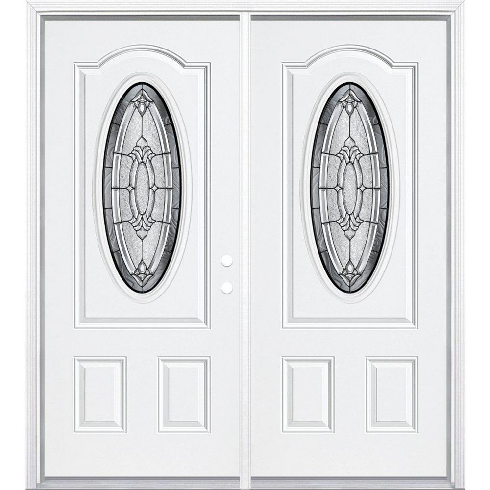 Masonite 68-inch x 80-inch x 4 9/16-inch Antique Black 3/4 Oval Lite Left Hand Entry Door with Brickmould