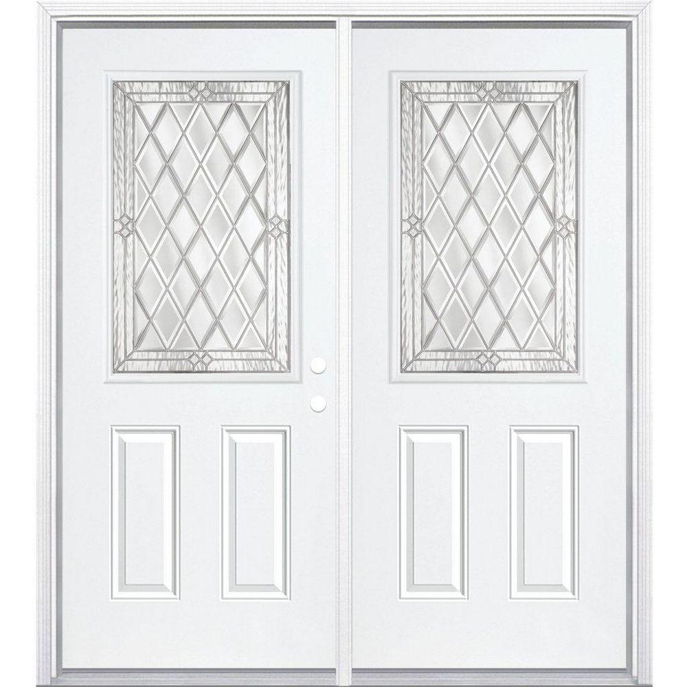 Masonite 68-inch x 80-inch x 4 9/16-inch Nickel 1/2-Lite Left Hand Entry Door with Brickmould