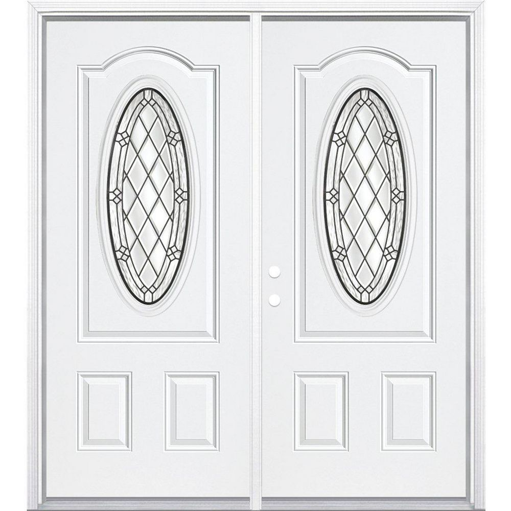 Masonite 64-inch x 80-inch x 4 9/16-inch Antique Black 3/4 Oval Lite Left Hand Entry Door with Brickmould