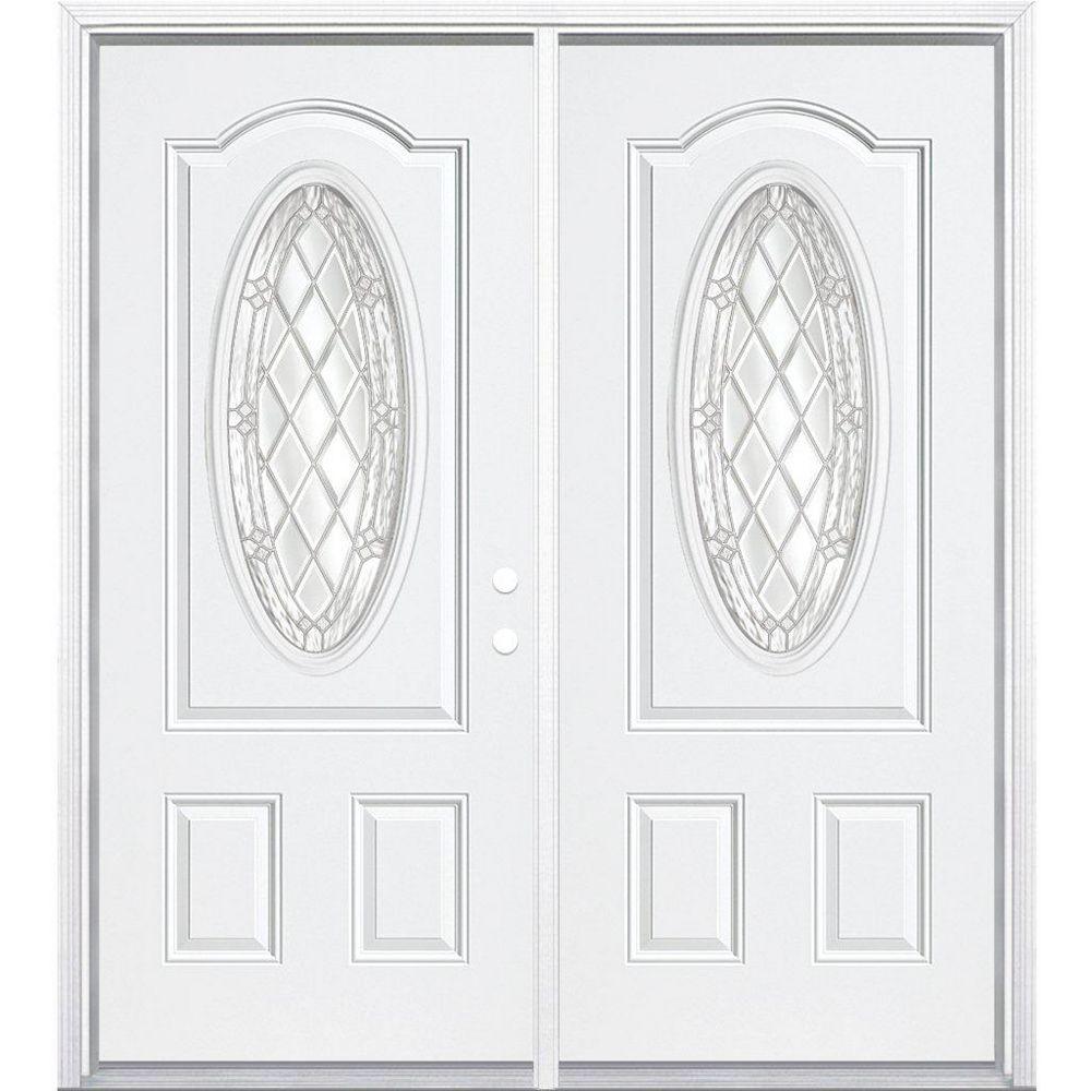 Masonite 68-inch x 80-inch x 6 9/16-inch Nickel 3/4 Oval Lite Left Hand Entry Door with Brickmould