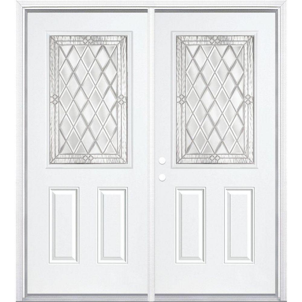 Masonite 68-inch x 80-inch x 6 9/16-inch Nickel 1/2-Lite Right Hand Entry Door with Brickmould