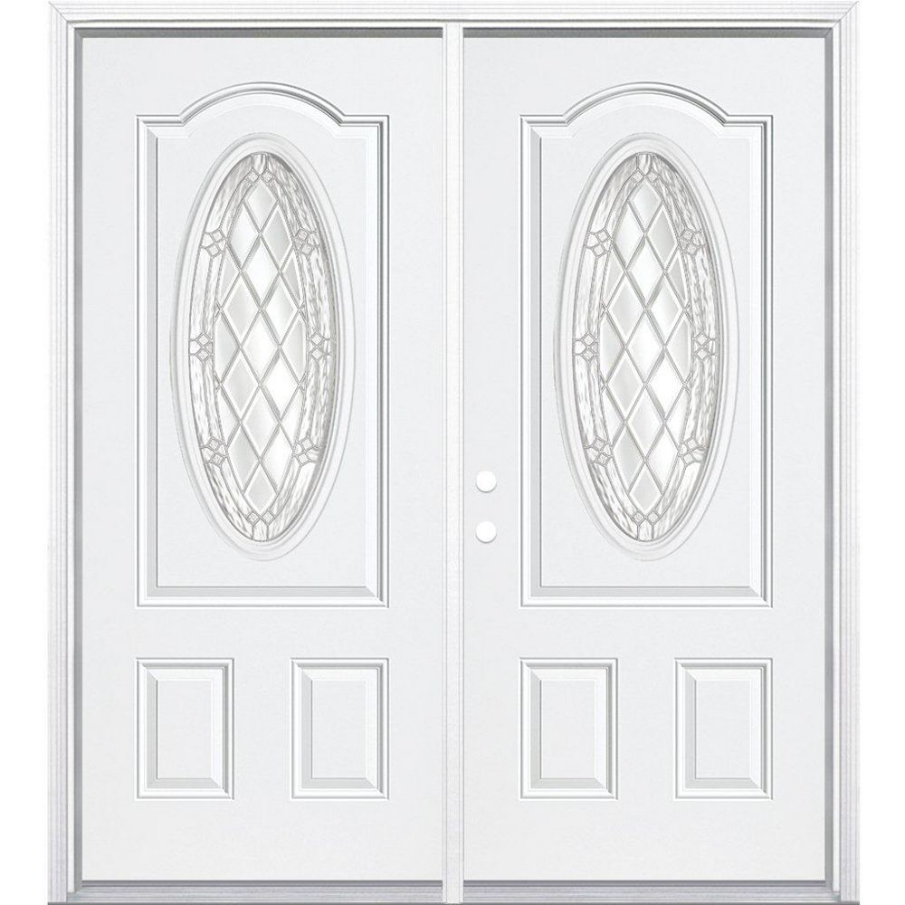 Masonite 64-inch x 80-inch x 4 9/16-inch Nickel 3/4 Oval Lite Right Hand Entry Door with Brickmould