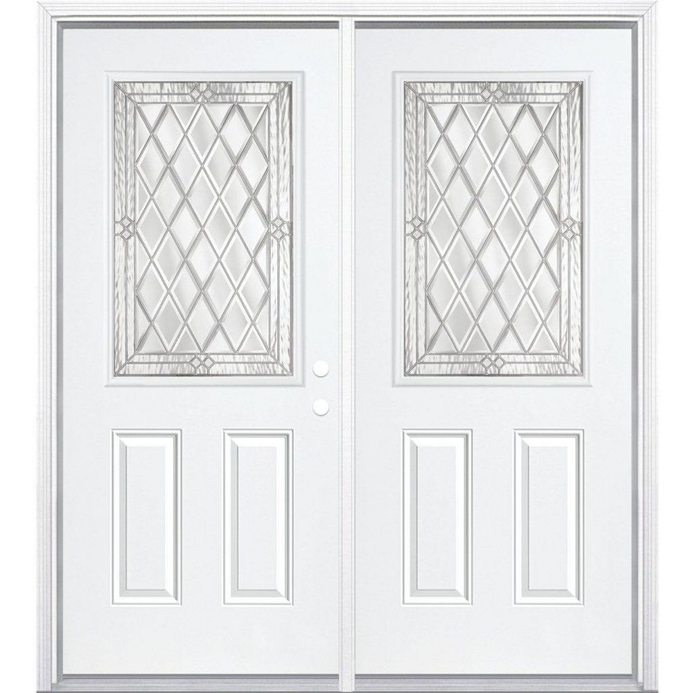 Masonite 72-inch x 80-inch x 6 9/16-inch Nickel 1/2-Lite Left Hand Entry Door with Brickmould